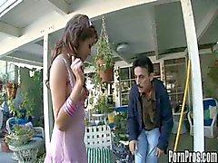 Old gardener fucks young slut.