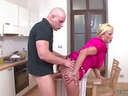German Monster Tit MILF Seduce to Fuck by Young Boy