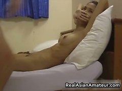 Skinny asian amateur sloppy cock sucking