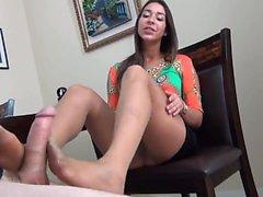 Nasty brunette in hot foot fetish action