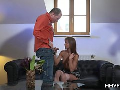German brunette Paola adores riding a huge cock