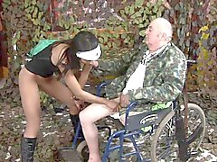 Old man with leg missing fucks a young black nurse