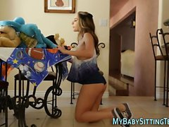 Petite babysitter rides