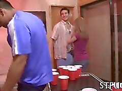 Provocative college teens suck cocks while partying