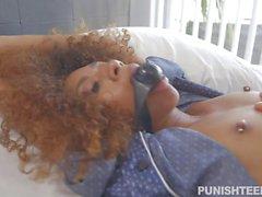Ebony teen tied up and pussy rammed hard