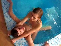 Gorgeous russian teen pool fuck