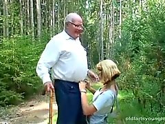 Young girl helping an old man with a hard and horny cock