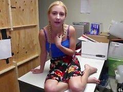 Slutty employee jerking off her boss