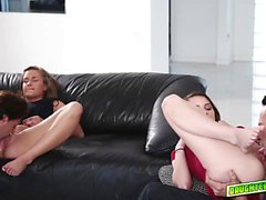 Grounded teens ball licking and sucking big cocks