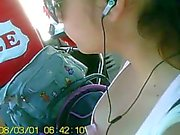 Nice argentinian girl with perfect tits in bus