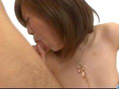 Young Mari Sasaki enjoys two cocks in trio hardcore