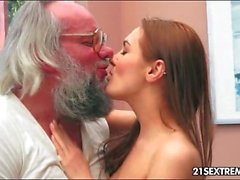 Sweet young lady loves grandpa cock