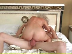 Saggy tits mature gives young guy anal sex
