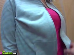 Brunette with big nipples is sucking my cock in changing room