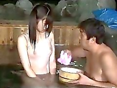 Asian Girl In Swimsuit Giving Blowjob In The Bath
