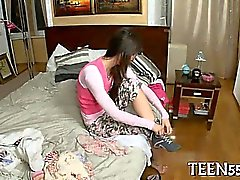 Timid asian legal age teenager acquires drilled