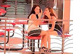 Meagan and Sophia porn cute brunette lesbians in public