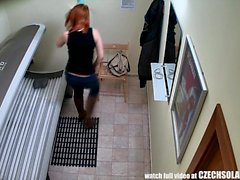 Stunning Teen RedHead Girl with Big Natural Tits in Solarium