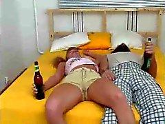 Drunken guy has fun sex with young slut