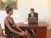 Slutty secretary spreads her legs for her horny boss right on his desk