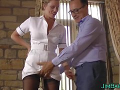 Amateur nurse gets cum