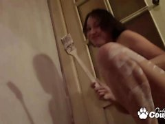 Whore painting the wall and take a hot bath