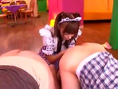 Asian teen does handjob n blowjob