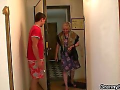 Naughty granny takes in old pussy some fresh big cock for hot fuck