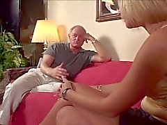 Huge tits blonde babe for old daddy's huge cock