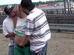 Risky PUBLIC teen orgy at a railway station