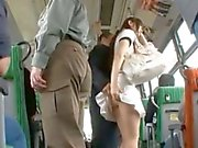 Horny dude cums on a teen's ass cheeks on the bus