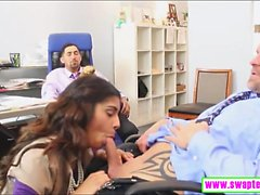 Gigi Flamez and Katalina Mills foursome sex in the office