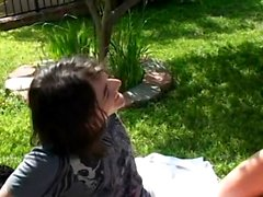 Hot young girlfriend has no gag reflex