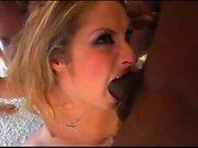 Big cocks give bukkake after getting blowjob from slut