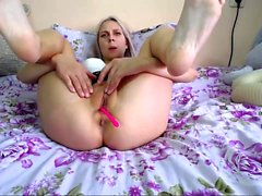 Sexy blonde chick solo masturbation