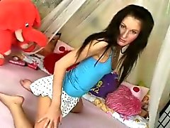 Teen girl makes herself come