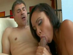 Cute latina creampied by a guy with grey hair