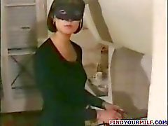 French brunette mom in a mask wants young cocks and sucks and fucks
