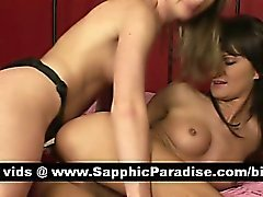 Angelic blonde and brunette lesbos toying pussies using a large strapon