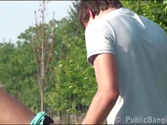 Cute blonde teen girl with 2 guys PUBLIC threesome