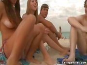Spring break party on the beach with naked babes and fucking