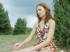Brunette teen blowjob outdoor