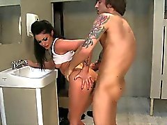 Tattooed teen fucked in public bathroom