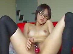 Sexy Nerdy Korean Teen Toying Hairy Pussy