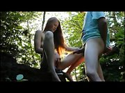 Horny couple fucks and sucks Outside in Woods