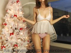 Ballet Dancer Teasing Infront Of The Christmas...