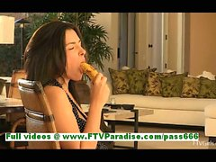 Danica naughty brunette woman anal toying with a banana