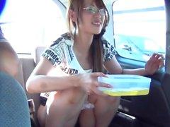 Naughty teens pee in cab