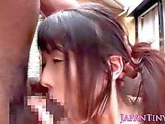 Petite japanese schoolgirl gets a cummouthful