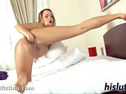 Saucy babe loves fisting herself hard